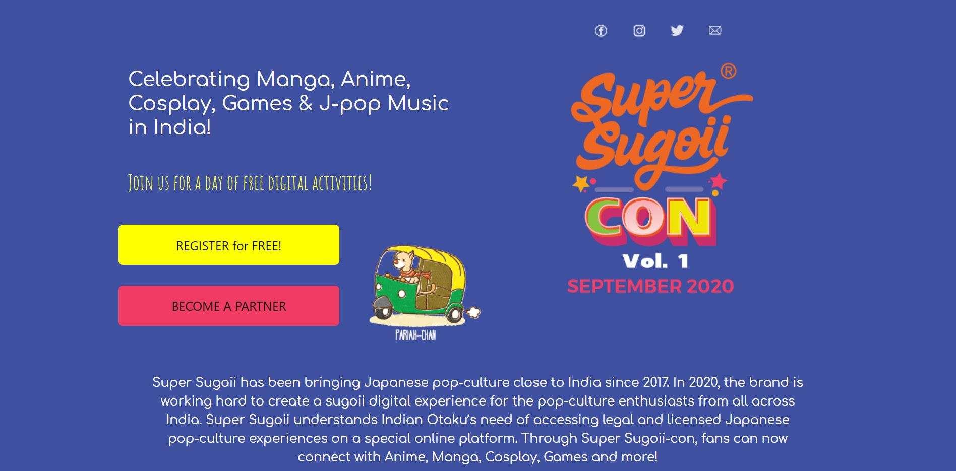 Registration Page of Super Sugoii con